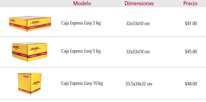 precios dhl cajas empaques